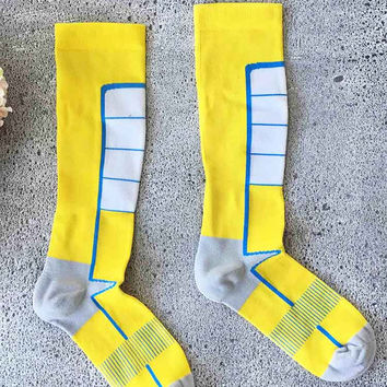 Cupshe Bright Yellow and Blue Knitting Socks