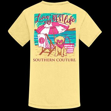Southern Couture Livin My Best Life Beach Comfort Colors T-Shirt