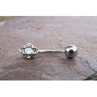 Teal Opal Daith Piercing Rook Earring Eyebrow Ring