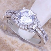 Fascinating White Cubic Zirconia CZ 925 Sterling Silver Ring For Women Size 5 / 6 / 7 / 8 / 9 / 10 / 11 / 12  S0445