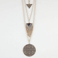 Full Tilt Layered Triangle/Disc Necklace Gold One Size For Women 24277462101