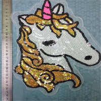 sequins brand unicorn iron on patches for clothes Sew-on embroidered patch motif applique deal with it clothing free shipping