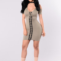 Falling For Me Dress - Olive