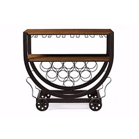 Triesta Antiqued Metal And Wood Wheeled Wine Rack Cart By Baxton Studio