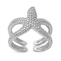 925 Sterling Silver Starfish in the Horizon Ring
