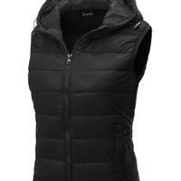 Thanth Womens Fitted Active Puffer Vest Jacket with Hoodie BLACK Small