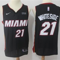 NBA Authentic Basketball Player Jerseys Miami Heat #21 Hassan Whiteside Black