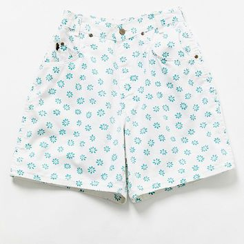 Vintage '90s Painted Daisy Denim Short   Urban Outfitters