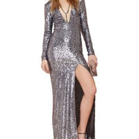 Sequins Deep V-neck Long Sleeve Bodycon Maxi Slit Dress
