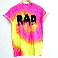 small neon pink yellow RAD shirt