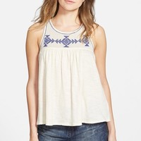 Junior Women's Volcom 'Side Note' Embroidered Tank,