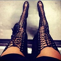 Hollow Pointed Toe Fashion Women High Boots High Heels Shoes