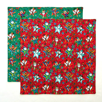 Christmas Napkins Kids Cloth Lunch Napkins 12 Inch Double Sided Red and Green