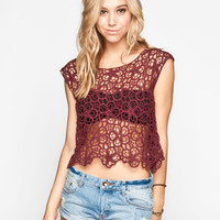 H.I.P. Allover Floral Crochet Womens Top Burgundy  In Sizes