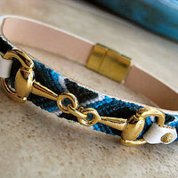 """Leather Friendship Bracelet with Equestrian Gold Snaffle Horse Bit... Magnetic Clasp....""""FREE SHIPPING"""""""