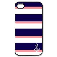 Apple iPhone 4 / 4S / 5 Black Border Hard Case Nautical Coral Anchor on Navy Blue , Pink And White Stripe