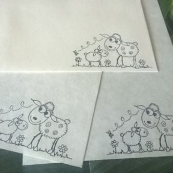 Sheep stationery Set 1 5 10 parchment paper letter writing and envelope hand stamped Cartoon lamb vintage style handmade card adult coloring