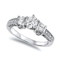 Sterling Silver Prong-Set Round Cut Clear Cubic Zirconia CZ Engagement Ring - size 5