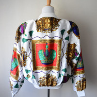80s/90s Bright White Baroque Royalty Bomber Jacket // Jewel Tones, Crowns & Crests // Windbreaker Parachute Satin, Fresh Prince Hip Hop Swag