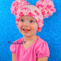 Valentines Day Hat Pom Pom Hats - All sizes Newborn to Adult - Fluffy Pink Pom pom beanie