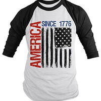 Shirts By Sarah Men's Patriotic America Since 1776 Distressed Flag 4th July 3/4 Sleeve Raglan