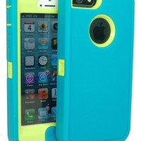 BeautyChase(TM) Iphone5/5s Defender Body Armor Case Comparable to Otterbox Defender Series (teal blue/green)