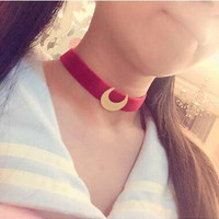 New Arrival Japanese Anime Sailor Moon Velvet Strip Necklace Cosplay Moon Pendant Charms Jewelry Sweet Cute Choker
