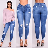 3xl Plus Size Light Blue Skinny Ripped Jeans For Female Women Mid Waist Bleash Wash Casual Denim Jeans 2018 Slim Fit Pants Femme
