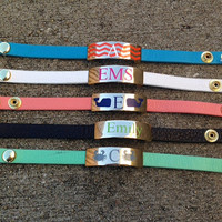 Colorful Leather Wrap Bracelet Personalized Monogram Whale Crab Turquoise Mint Coral