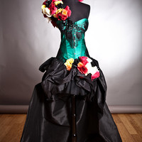 Custom Size Green and black lace burlesque prom dress with bustled train head piece and arm piece roses Day of the Dead costume