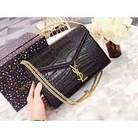 YSL fashion hot seller casual ladies solid color crocodile shopping shoulder bag