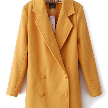 Notched Collar Long Sleeve Double-Breasted Woolen Coat