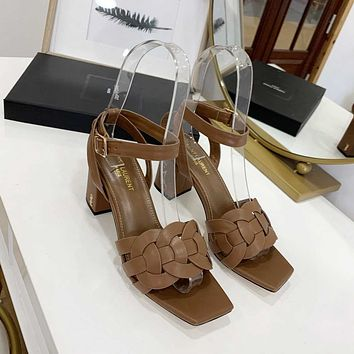 ysl women casual shoes boots fashionable casual leather women heels sandal shoes 75