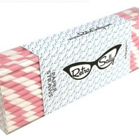 """Paper Straws 8"""" - Pack of 50 Light Pink Stripe by Retro Sally"""