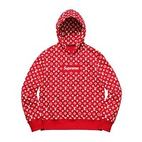 Louis vuitton's SUPREME fashionable men's and women's printed long-sleeved hoodies