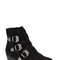 "Women's Topshop 'Billy Buckle' Strappy Suede Ankle Boot, 1 1/2"" heel"