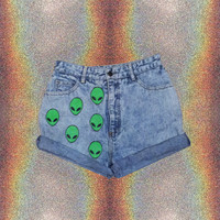 90s Grunge High-waisted Shorts // Alien // Alien Shorts // 90s // Grunge // Space // Space Grunge // Punk // Bongo Shorts