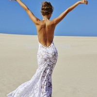 Grace Love White Lace Sexy Low Back Off-Shoulder Wedding Dress