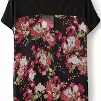 Black Short Sleeve Chiffon Blouse with Pink Floral Print