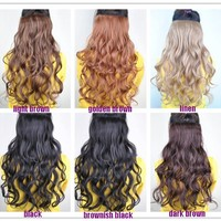 Hot Womens Girls Ladies Long Wavy Curly One Piece Clip on Hair Extensions Cilp in Hair Accessories Hairpiece Weft Wig Weaving Wig Pp19