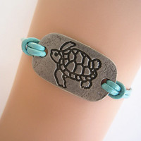 Antiqued Silver Turtle Bracelet, Teal Blue Braid, Genuine Leather Personalized Friendship Birthday Graduation Gift, Christmas Accessories