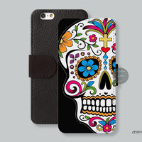 iPhone 6 case Leather Wallet iPhone 6 plus case, Wallet cover iPhone 5s case Flowers skull iPhone 5c case Galaxy s4 s5 Note3/4 - C00109