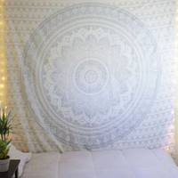 "Exclusive ""Twin Gray/silver Ombre Tapestry by JaipurHandloom"" Ombre Bedding , Mandala Tapestry, Multi Color Indian Mandala Wall Art Hippie Wall Hanging Bohemian Bedspread"