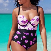 Fat Women Plus-Size Print High Waist One Piece Swimsuit Swimwear