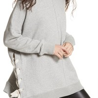 Free People So Plush Lace-Up Pullover | Nordstrom