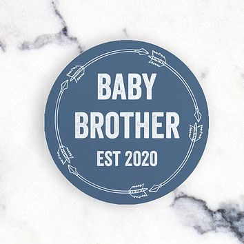 Mini Baby Brother Blue Circle 4 inch sign - Baby Brother Arrow EST 2020