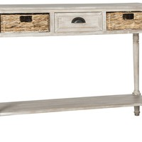Christa Console Table With Storage Vintage White