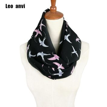 Leo anvi brand Ladies print Swallow Bird Print Infinity Scarf Snood Women's Loop Party Event Accessories Gift for Her