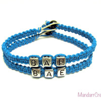 BAE Bracelets for Couples or Best Friends, Silver Tone Letter Beads, Before Anyone Else, Turquoise Macrame Hemp Jewelry