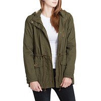 Faux Fur Anorak Military Jacket with Pockets (CLEARANCE)